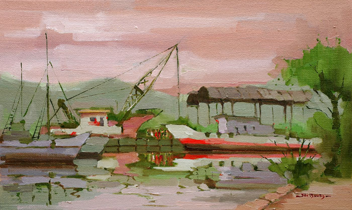 Shipyard in Green and Magenta